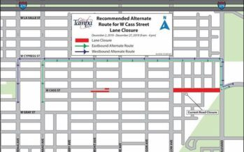 Temporary Lane Closures W Cass Street to begin December 2, 2019 for Utility Construction