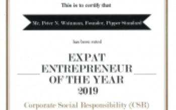 """Equator Pure Nature CEO Peter Wainman Named """"Expat Entrepreneur of the Year for Corporate Social Responsibility"""" in Thailand in 2019"""