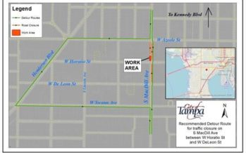 Lane Closures on South MacDill Avenue between W Horatio Street and W DeLeon Street begin February 11 for Utility Maintenance Work